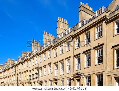 Typical row of Georgian sandstone houses in Bath, England - stock photo