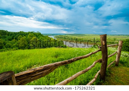 Typical Russian landscape, near Polenovo, Oka river - stock photo