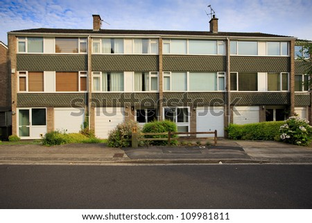 Typical 1970s terrace houses in Bristol, UK - stock photo