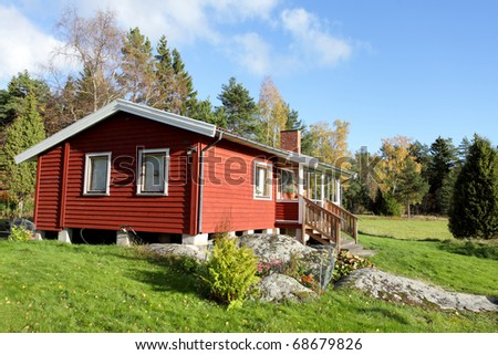 Typical scandinavian  summer cottage - stock photo