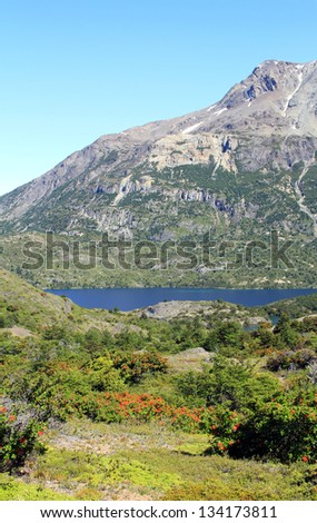 Typical Scenery in Patagonia, South America. - stock photo