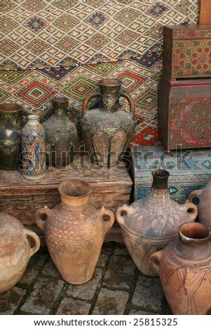 typical scenery of streets of marrakech - stock photo