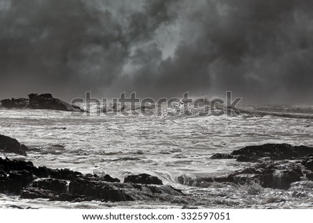 Typical sea storm from northern portuguese coast. Slightly enhanced sky - stock photo