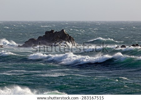 Typical seascape of the northern Portuguese coast during north winds days