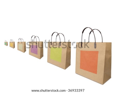 Typical shopping bags aligned