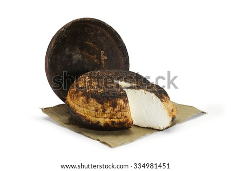Typical Sicilian Baked Ricotta cheese on white background - stock photo