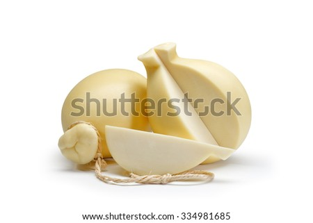 Typical sicilian cheese called provola on white background - stock photo