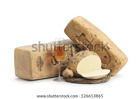 Typical Sicilian cheese from cow called drunk cheese, matured in wine ZIBIBBO, on white background - stock photo