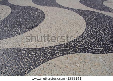 typical sidewalk in copacabana (Rio de Janeiro - Brazil) - stock photo