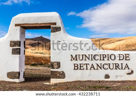 Typical Sign of New Municipality - Betancuria, Fuerteventura, Canary Islands, Spain - stock photo