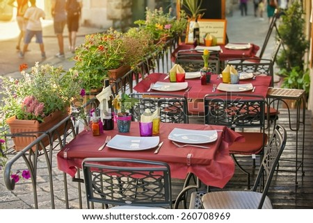 Typical small cafe in Tuscany, Italy - stock photo