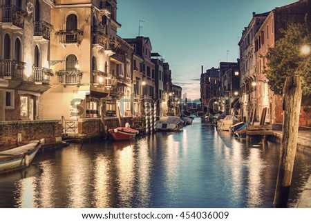 Typical small Venetian Canal Rio de San Vio at evening, Venice (Venezia), Italy, Europe, Vintage fitlered style - stock photo