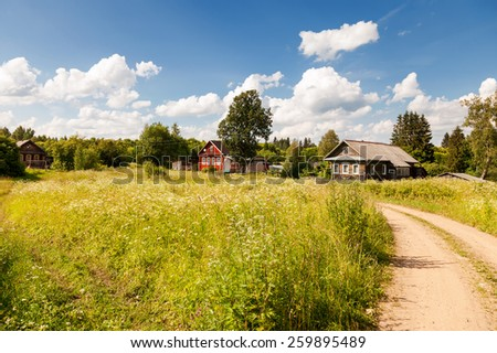 Typical small village in central Russia in sunny summer day - stock photo