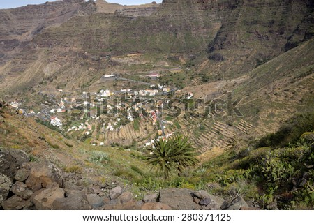 Typical small village on Gomera island, Spain - stock photo