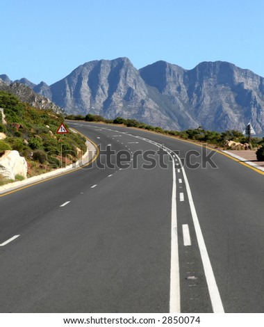 typical south african mountain road outdoors in summer - stock photo