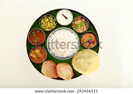 Typical south Indian Thali served in plate - stock photo