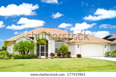 Stock Photo Typical Southwest Florida Concrete Block And