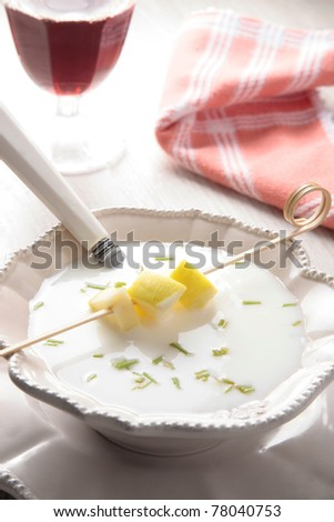 """typical spanish almond cold soup called """"ajo blanco"""", white garlic in english - stock photo"""