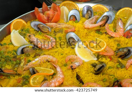 Typical Spanish seafood paella - stock photo