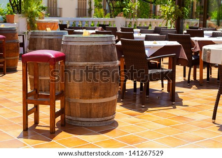Typical Spanish Tapas Bar Terrace - stock photo