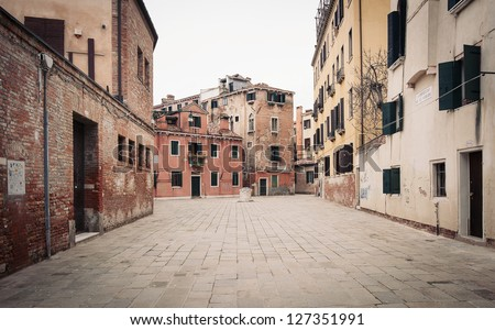 Typical square of Venice, Italy. - stock photo