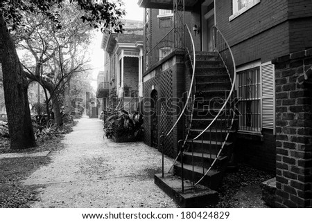 Typical street at Savannah historic district - stock photo
