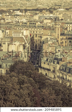 Typical street in Paris - aerial view - stock photo
