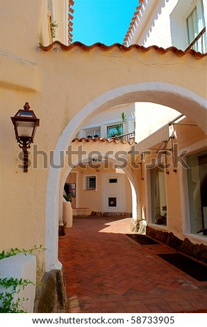 Typical street in Porto Cervo - Sardinia - Italy - stock photo