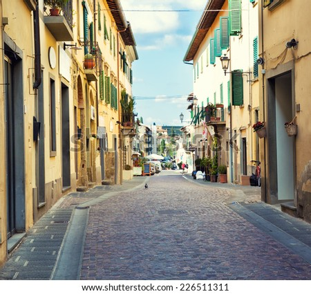 Typical street in small Tuscany town. Italy. - stock photo
