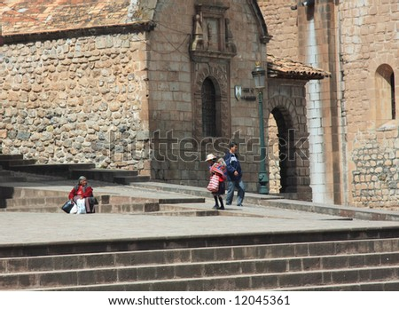 Typical street scene in Cusco, Peru near the cathedral, in South America - stock photo