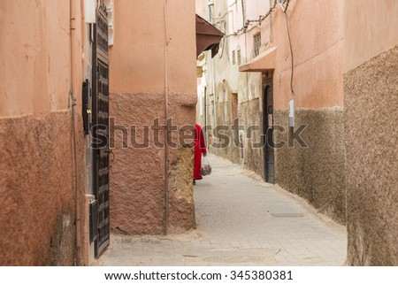 Typical Street Scene In The Backstreets Of Marrakech - stock photo