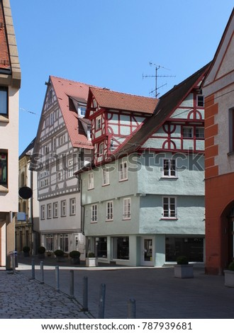 Typical street scene with half-timbered houses in Ulm, Germany