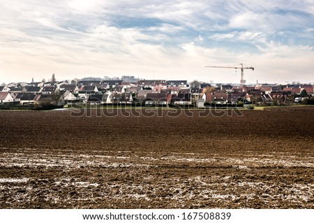 Typical Suburb resident district in the north of France in winter - stock photo