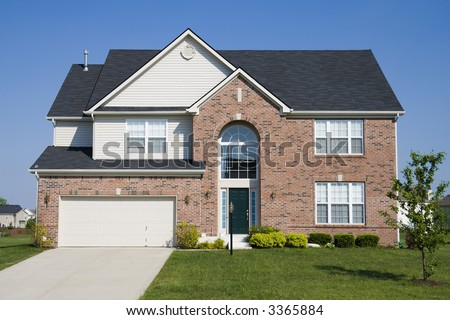 Typical suburban single family house in Midwest - stock photo