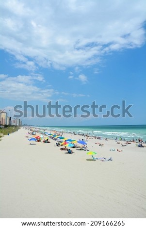 Typical Summer day at Myrtle Beach South Carolina - stock photo