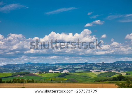 Typical summer rural landscape of Tuscany, Italy - stock photo