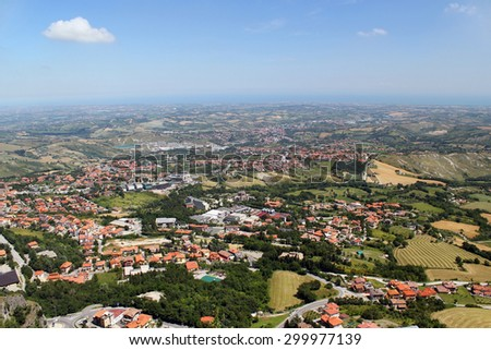 Typical sunny summer landscape of rural northern Italy from height of bird's flight. It is well visible that the earth round - stock photo