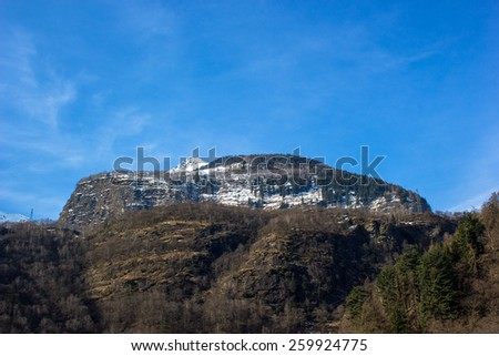 typical Swiss landscape, valleys between mountains, snow and trains - stock photo