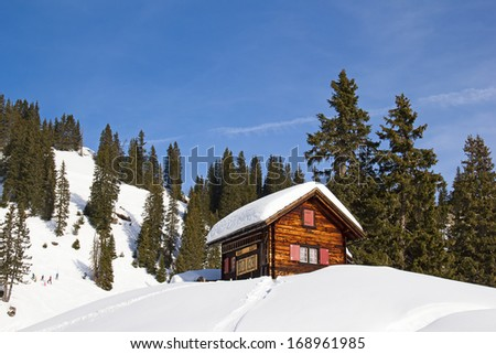 Typical swiss winter season landscape. December 2012, Switzerland. - stock photo