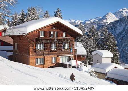 Typical swiss winter season landscape. January 2011, Switzerland. - stock photo