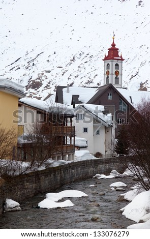 Typical swiss winter season landscape, Switzerland - stock photo