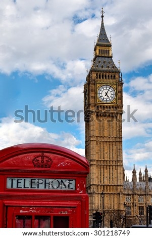 Typical symbols of the United Kingdom, the Big Ben and a red telephone booth - stock photo