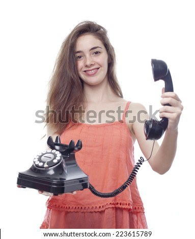 typical teenager girl showing a phone