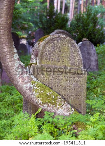 Typical tombstones in old jewish cemetery - stock photo