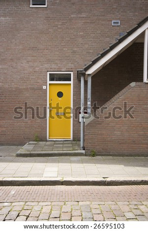 Typical town house in Netherlands and sunny day - stock photo