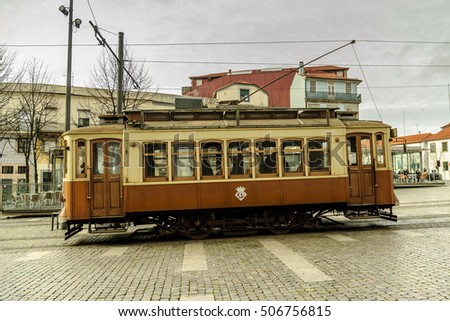 typical tramcar of the city of Oporto in Portugal