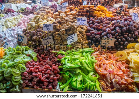 Typical turkish delights on sale at the market in Istanbul - stock photo