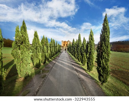 typical tuscan countryside with cypress and road - stock photo