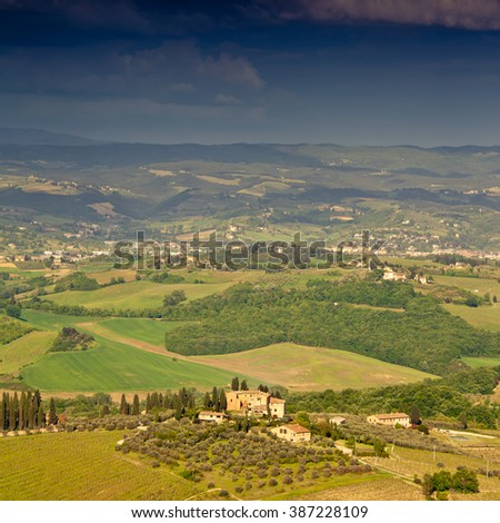 Typical Tuscan landscape in Italy - stock photo