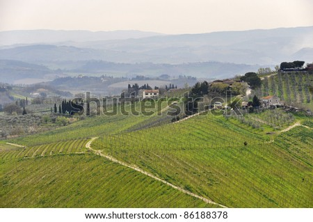 Typical Tuscany landscape in spring, Italy - stock photo